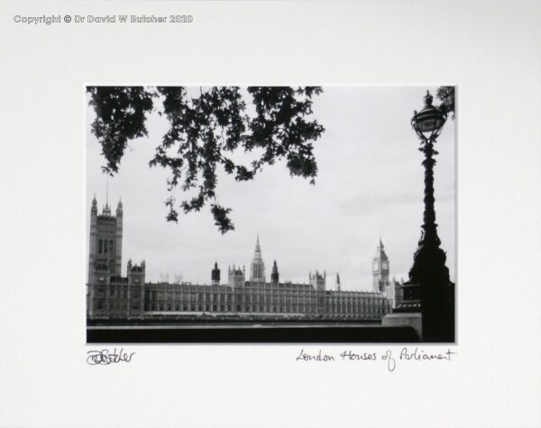 England, London Houses of Parliament from South Bank of River Thames