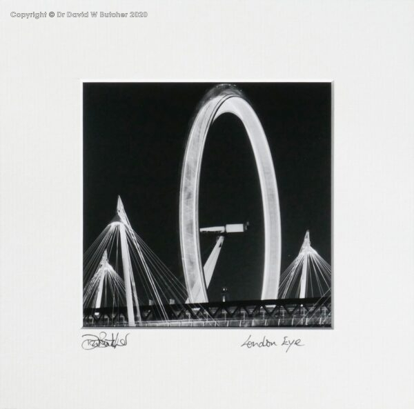 England, London Eye and Jubilee Bridge from Victoria Embankment near Cleopatras Needle