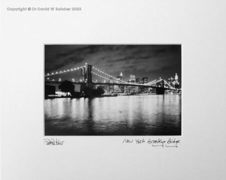 USA, New York Brooklyn Bridge, East River and Manhattan from Brooklyn at Night.