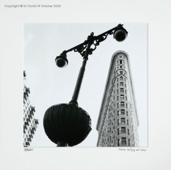 USA, New York Flatiron Building and Lamp